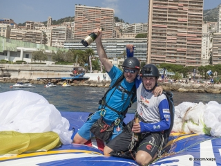 Sebastian Huber (GER3) made it to Monaco during the Red Bull X-Alps, Monaco on July 14th 2015