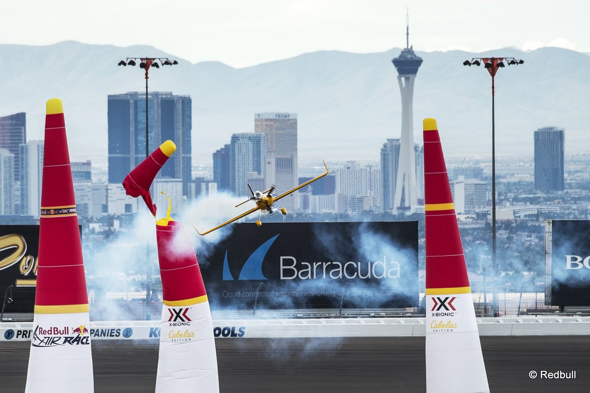 Matt Hall of Australia hits a pylon during the training of the eighth stage of the Red Bull Air Race World Championship at the Las Vegas Motor Speedway in Las Vegas, Nevada, United States on October 16, 2015.