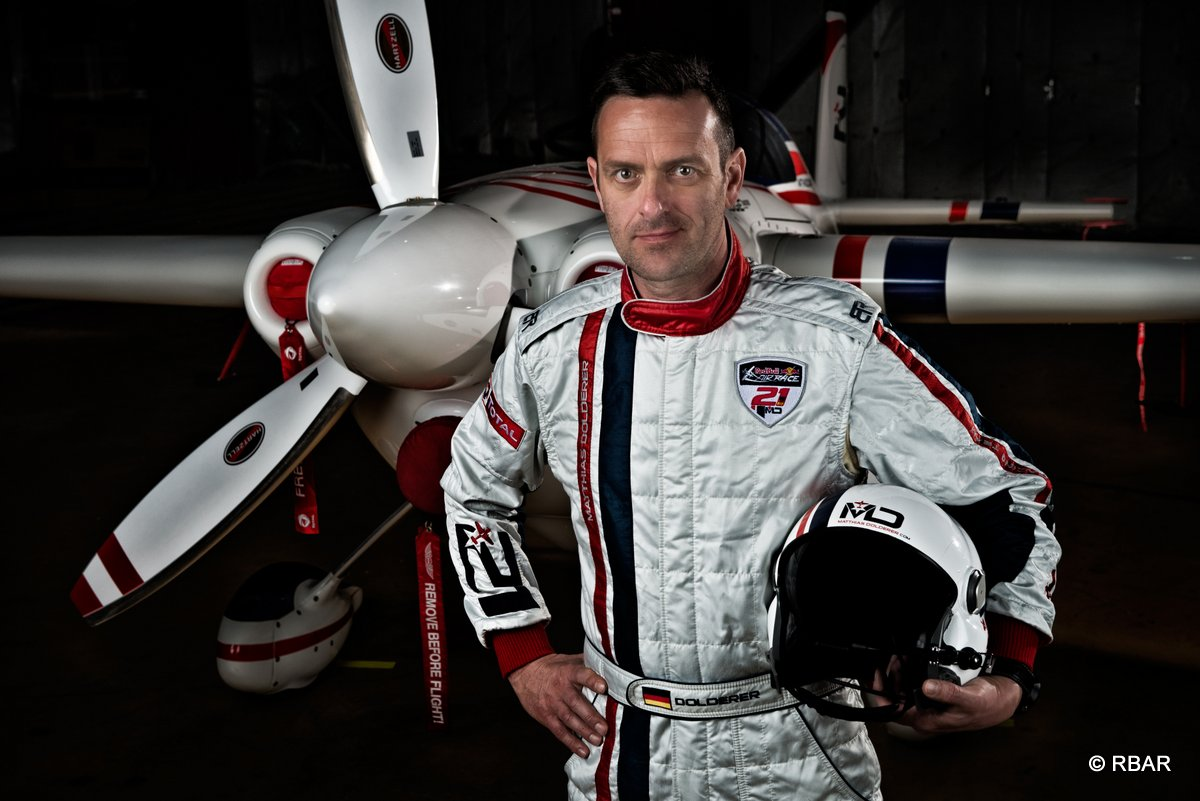 Matthias Dolderer of Germany poses for a photograph during the Red Bull Air Race World Series in Abu Dhabi, United Arab Emirates on February 23, 2014.