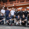The pilots pose for a photograph in front of Chiba Shrine prior to the second stage of the Red Bull Air Race World Championship in Chiba, Japan on May 14, 2015.