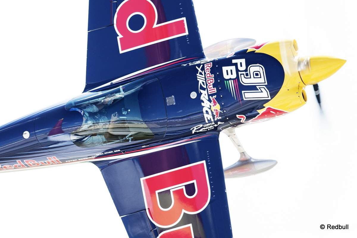 Peter Besenyei of Hungary performs during the training for the sixth stage of the Red Bull Air Race World Championship at the Texas Motor Speedway in Fort Worth, Texas, United States on September 5, 2014.