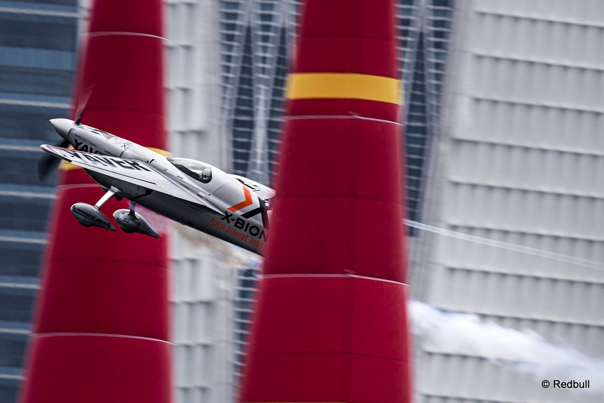 Hannes Arch of Austria performs during the third stage of the Red Bull Air Race World Championship in Putrajaya, Malaysia on May 18, 2014.