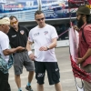 Matthias Dolderer of Germany & Nicolas Ivanoff of France learning how to fly a traditional Malaysian kite called the Wau at the race airport during the Red Bull Air Race Putrajaya 2014 in Putrajaya, Malaysia on May 14th 2014.