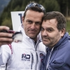 TV Moderator Alexander Duszat alias Elton of Germany poses for a photograph with Matthias Dolderer during the training for the eighth stage of the Red Bull Air Race World Championship at the Red Bull Ring in Spielberg, Austria on October 24, 2014.