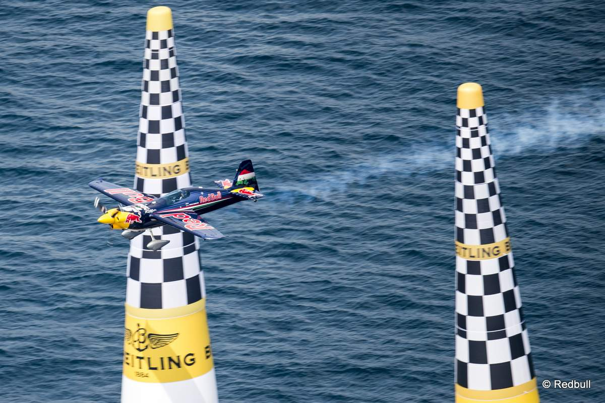 Peter Besenyei of Hungary performs during the qualifying day of the third stage of the Red Bull Air Race World Championship in Rovinj, Croatia on May 30, 2015.