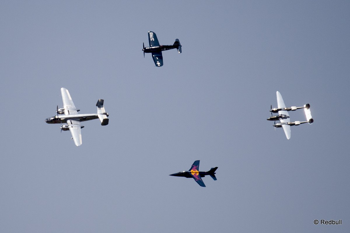 Flying Bulls perform during a side act of the third stage of the Red Bull Air Race World Championship in Rovinj, Croatia on May 31, 2015.