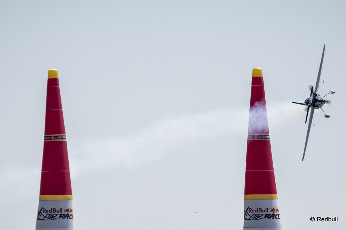 Michael Goulian of the United States performs during the finals of the third stage of the Red Bull Air Race World Championship in Rovinj, Croatia on May 31, 2015.