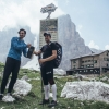 Christian Maurer (SUI1) wins the Salewa Brenta Trophy and receives it from Michele Leonardi (host of the Brentei Hut) during the Red Bull X-Alps at Brenta, Cima Tosa (turn point 5), Italy on 8th July 2015