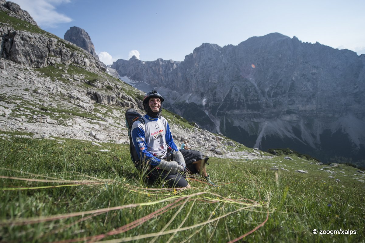 Sebastian Huber (GER3) performs during the Red Bull X-Alps at Brenta, Cima Tosa (turn point 5), Italy on 8th July 2015