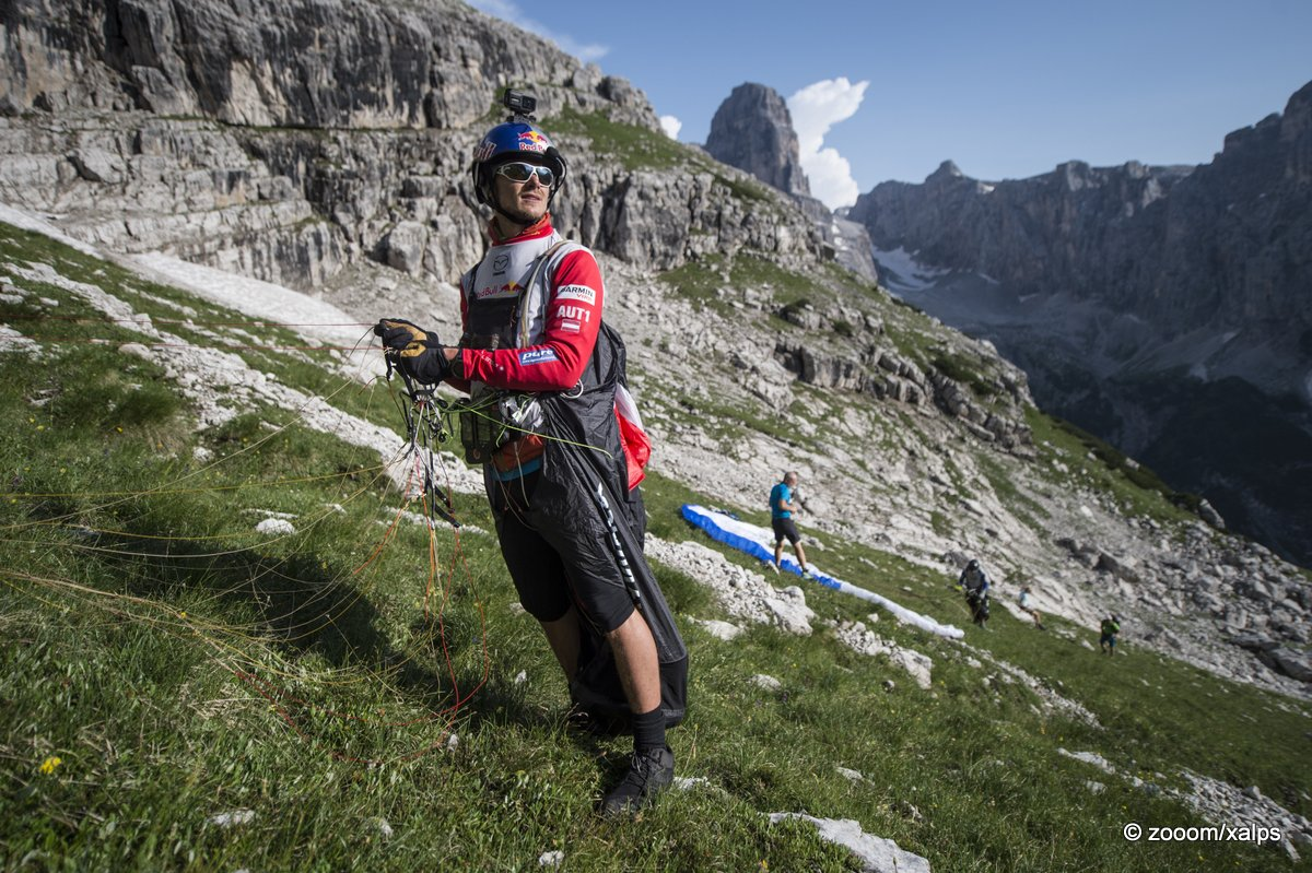 Paul Guschlbauer (AUT1) performs during the Red Bull X-Alps at Brenta, Cima Tosa (turn point 5), Italy on 8th July 2015