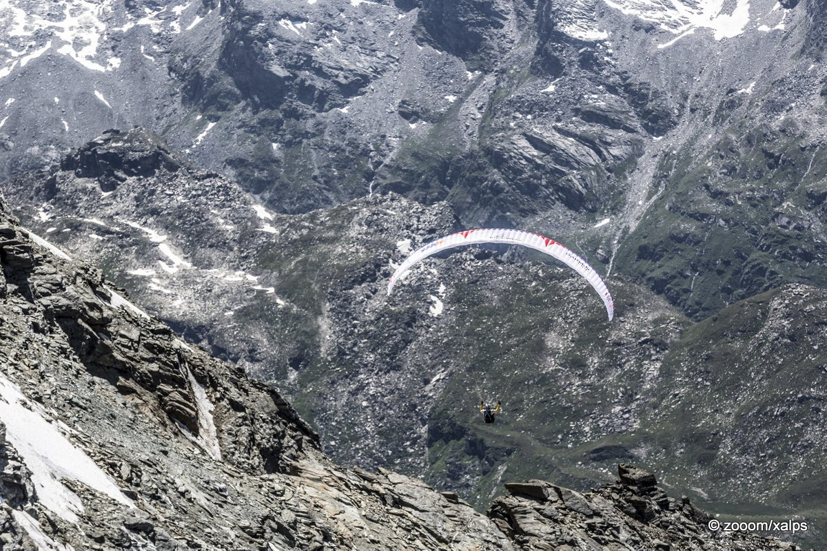 Christian Maurer (SUI1) passes turnpoint 6, Piz Corvatsch during the Red Bull X-Alps near St. Moritz, Switzerland on July 9th 2015
