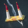 Matthias Dolderer of Germany hits the pylon during the finals for the second stage of the Red Bull Air Race World Championship in Rovinj, Croatia on April 13, 2014.