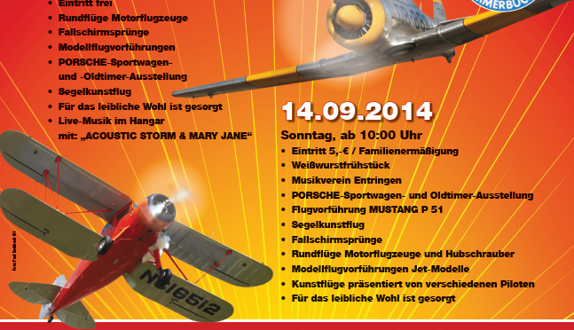 Fliegerfest Ammerbuch Flugplatz Poltringen 13.09. – 14.09.2014