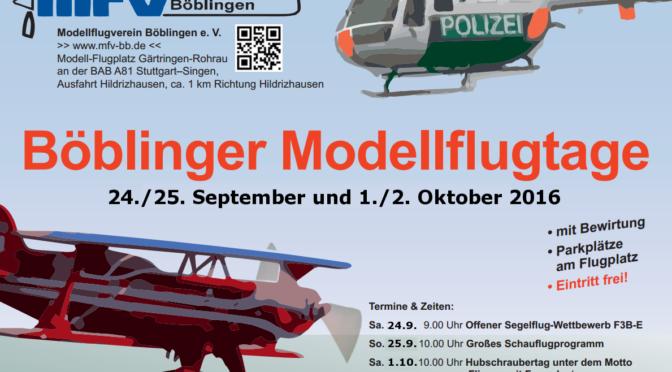 Böblinger Modellflugtage 24.09. – 25.09. + 01.10. – 02.10.2016