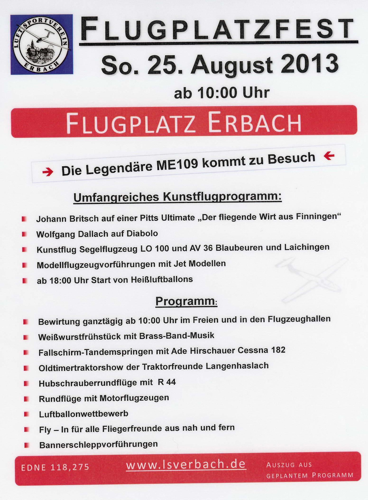 Flugplatzfest Luftsportverein Erbach e.V. 2013