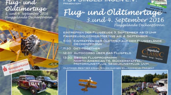 Flug- und Oldtimertage Deckenpfronn 03.09. – 04.09.2016