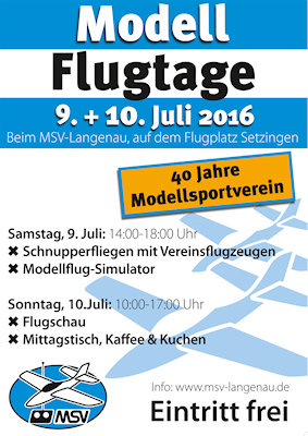 Modellflugtage Modellsportverein Langenau e.V. 2016
